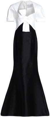 Carolina Herrera Two-tone Knotted Cotton And Silk-blend Gown