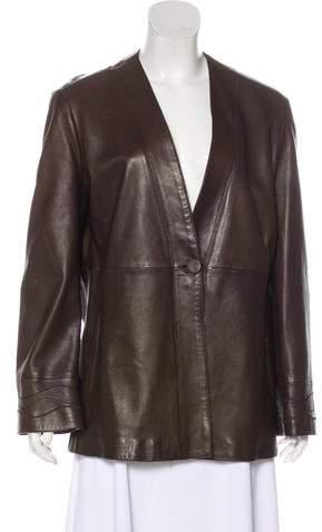 Giorgio Armani Leather Button-Up Jacket