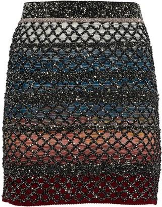 Missoni Knit Lurex Colorblock Mini Skirt