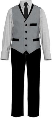 Van Heusen Baby Boy 4-Piece Heather Poplin Contrast Vest Set