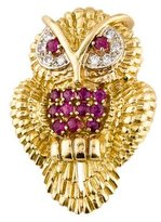 Tiffany & Co. 18K Diamond & Ruby Owl Brooch