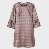 Paul Smith Women's Pink And Gold 'Tapestry' Jacquard Dress With Fluted Sleeves