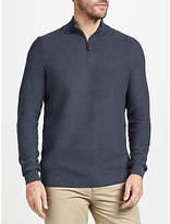 John Lewis Cotton Cashmere Textured Zip Neck Jumper, Navy