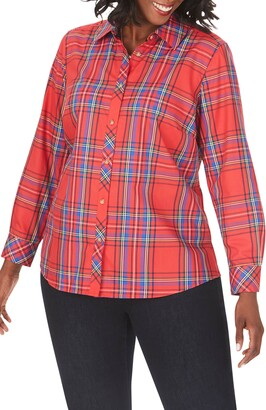Foxcroft Diane Emerson Tartan Wrinkle-Free Shirt