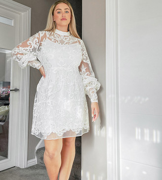 ASOS DESIGN Curve Luxe high neck long sleeve mini dress with embroidered sequins in white