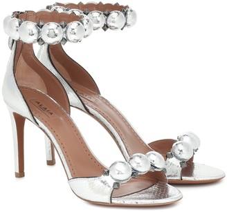 Alaia Bombe embellished snakeskin sandals