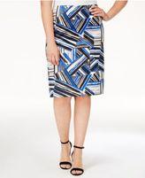 Kasper Plus Size Abstract-Print Pencil Skirt