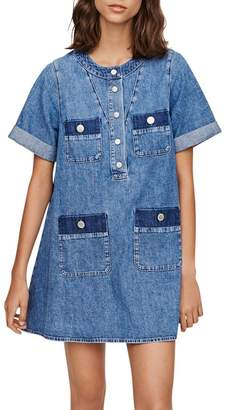 Maje Rime Denim Shift Dress