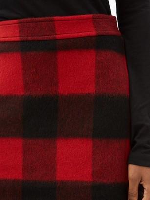 Ganni Check Felted Wool-blend Mini Skirt - Black Red