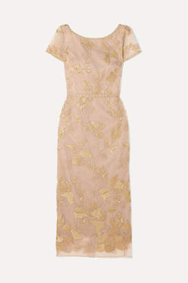 Marchesa Embellished Embroidered Tulle Midi Dress - Gold