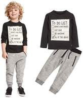 TONSEE 2 Pcs/set Kids Toddler Boys Handsome Blouse + Gray Casual Pants
