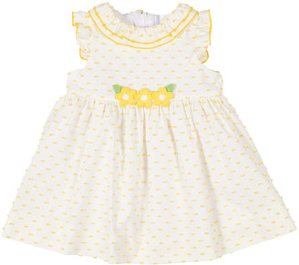 Florence Eiseman Dobby Dot Ruffle-Neck Dress w/ Flowers, Size 4T-3