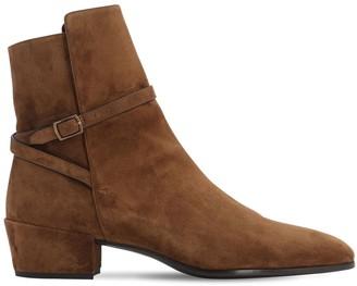 Saint Laurent 40mm Clementi Suede Boots W/ Strap