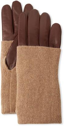 Portolano Napa Leather Gloves with Ribbed Cashmere Cuff