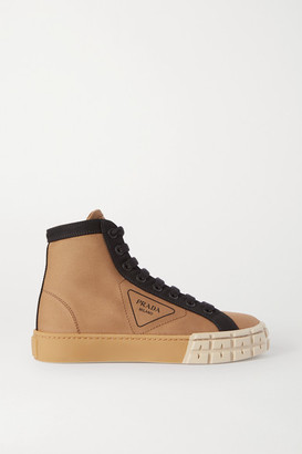 Prada Two-tone Logo-print Gabardine High-top Sneakers - Beige