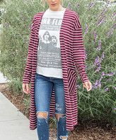 Tickled Teal Women's Cardigans Burgundy/white - Burgundy & White Open Cardigan - Women