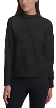 Calvin Klein Chenille Mock-Neck Pointelle Sweater