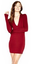 Michael Lauren Kato L/S Deep V Fitted Mini Dress in Rouge