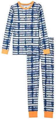 crewcuts by J.Crew Long Sleeve Tie-Dye Stripe Sleep Set (Toddler/Little Kids/Big Kids) (Blue/Navy) Boy's Pajama Sets