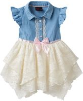 Little Lass Baby Girl Chambray & Lace Handkerchief Hem Dress