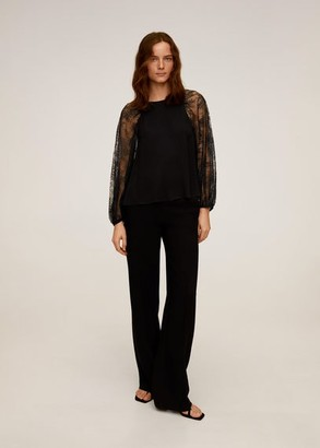 MANGO Lace sleeves blouse black - 2 - Women