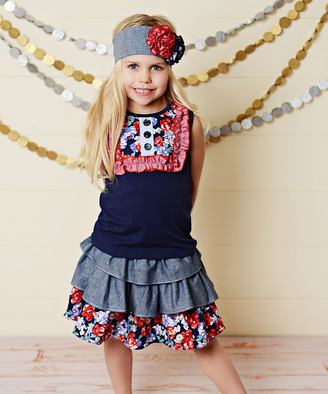 Oopsie Daisy Girls' Casual Skirts Red/Navy - Red & Blue Floral Ruffle Skirt Set - Toddler & Girls