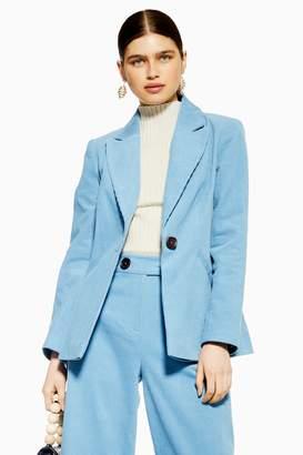 Topshop Womens Blue Corduroy Blazer - Blue