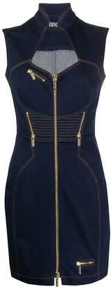 Versace fitted zipped denim dress