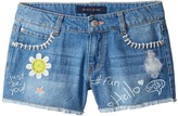 Tommy Hilfiger Denim Shorts with Art and Patches in Mirage Blue Girl's Shorts