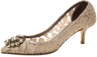 Dolce & Gabbana Beige Crystal Embellished Lace Bellucci Pointed Toe Pumps Size 37.5