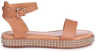 Linzi CALL ME BABY - Tan Nappa Two Part Sandal With Studded Trim Detail