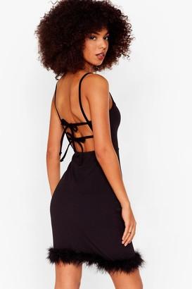 Nasty Gal Womens Feather Gonna Happen Square Neck Mini Dress - Black