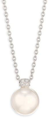 Mikimoto 18K White Gold, 11MM South Pearl & Diamond Pendant Long Necklace