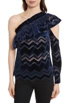 Self-Portrait Women's Zigzag Embroidered Velvet Top