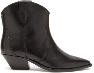 Isabel Marant Dewina Leather Western Ankle Boots - Black