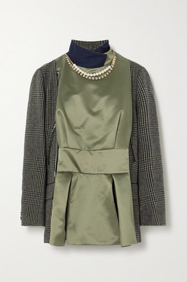 Sacai Embellished Leather-trimmed Checked Wool-blend And Satin Jacket - Beige