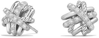 David Yurman Crossover Earrings with Diamonds/11mm
