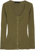 Burberry Ribbed-knit silk top
