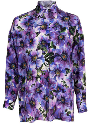 Dolce & Gabbana Oversized Dolman Print Blouse