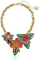 "Betsey Johnson Tropical Punch"" Tropical Pave Flower Necklace"