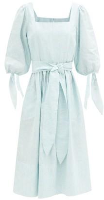 Loup Charmant Eularia Square-neck Striped Cotton-blend Dress - Blue Stripe