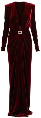 Alexandre Vauthier Velvet Jersey Long-Sleeve Deep V-Neck Column Gown