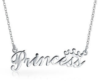 Bling Jewelry Princess Crown Necklace Name Plated Pendant 925 Sterling Silver