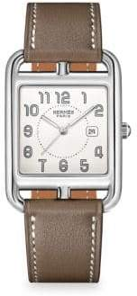 HERMÃS HERMÃS Cape Cod Stainless Steel& Leather Strap Watch - Brown