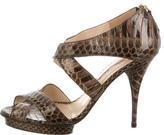 Oscar de la Renta Python Crossover Sandals
