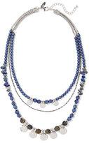 New York & Co. Beaded Silvertone Triple-Row Necklace