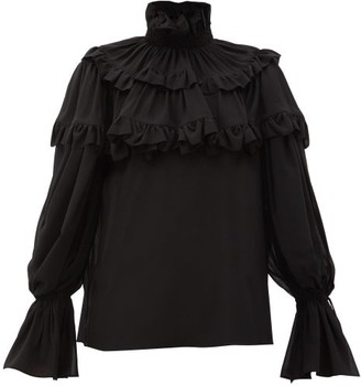 Saint Laurent Flounced Georgette Blouse - Black