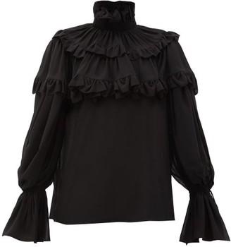 Saint Laurent Flounced Georgette Blouse - Womens - Black