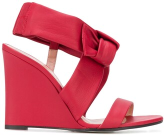 Pollini Bow Wedge Heel Sandals
