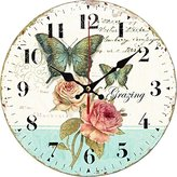 """Grazing 12"""" Romantic Rose and Butterfly Design Arabic Numerals Rustic Country Tuscan Style Wooden Decorative Round Wall Clock ( Rose )"""